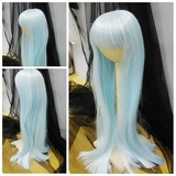 BJD doll wig 7-8 Long Straight Sky Blue