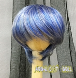 BJD Doll Wig 7-8 Short Cut Blue+Silver Mixed