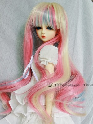 BJD Doll Wig 7-8 Heat Resistant Long Wavy Pink+Blue+Gold Mixed