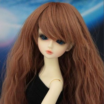 BJD Doll Wig 7-8  Heat Resistant Long Curly Brown