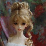 BJD doll wig Natural Mohair Up-do