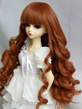 BJD Doll Wig Heat Resistant Long Curly Brown