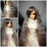 BJD doll wig 8-9 gray purple heat resistant wavy long