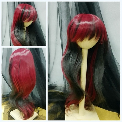 BJD Doll Wig 8-9 Heat Resistant Medium Long Natural Wavy Wine Red+Black