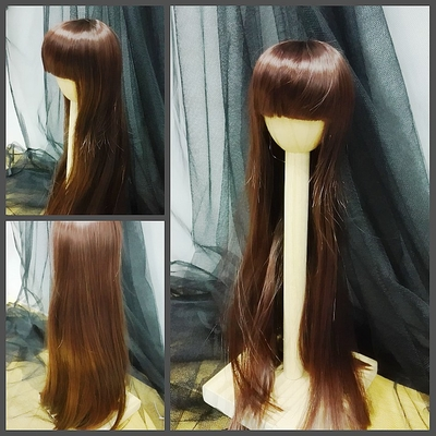 BJD Doll Wig 7-8 Long Straight Deep Brown
