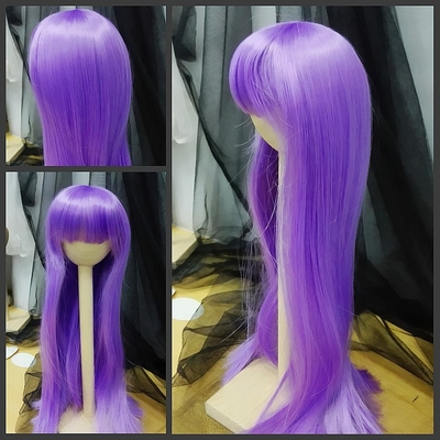 BJD Doll Wig 8-9 Long Straight Purple