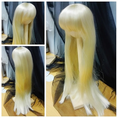 BJD Doll Wig 8-9 Long Straight Light Gold