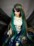 BJD doll wig 8-9 Heat Resistant Long Body waves Peacock