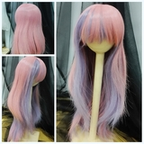 BJD Doll Wig 8-9 Heat Resistant Medium Long Natural Wavy Pink+Purple Mixed