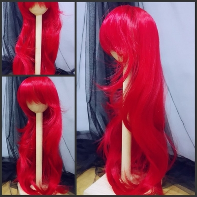 BJD Doll Wig 8-9 Deep Red  Natural Wavy Long