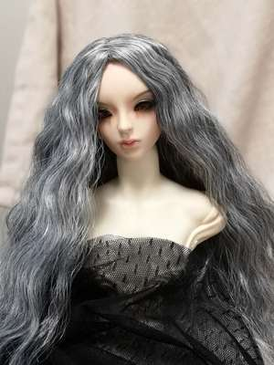 BJD Hair Wig Long Curly Silver Grey