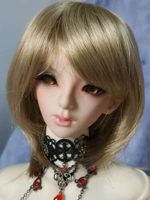 BJD Doll Wig 8-9 Short Cut Sandy Brown
