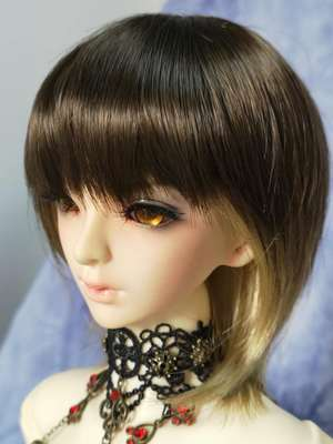 BJD Doll Wig 8-9 Short Cut Brown & Gold