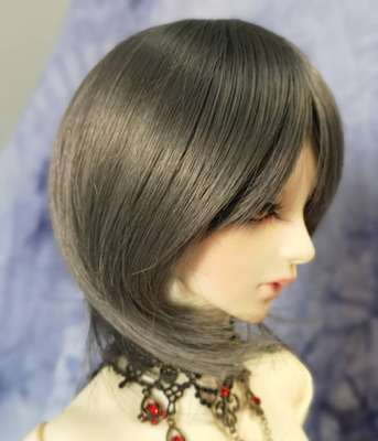 BJD Doll Wig 8-9 Short Cut Smoke Grey