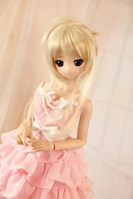 BJD chiffon dress pink with peals