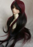 BJD Hair Wig Long Wavy Black+Wine Red